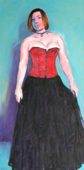 Frau mit Korsage