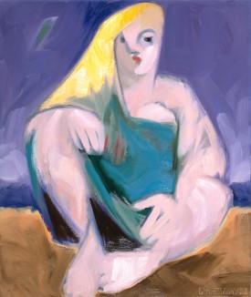 Sitzende mit gelbem Haar