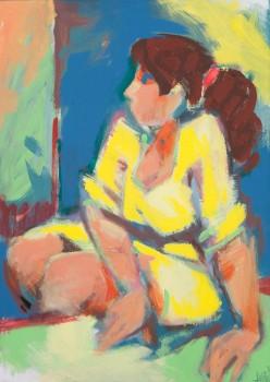 Frau mit gelbem Kleid