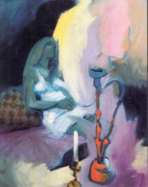 Frau mit Wasserpfeife